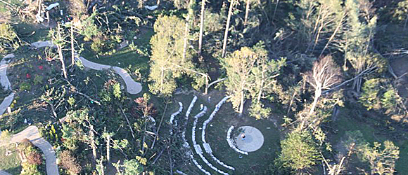 Aerial photo of tornado damage